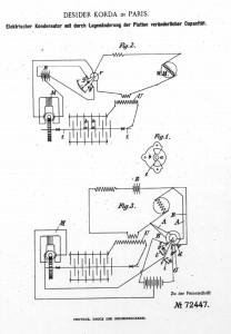 """Bild 1. Patentierte Anordnung Desider Kordas von 1892 [1]. Die mit """"Fig 1."""" bezeichnete Anordnung ist der Drehkondensator."""