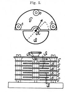 Bild 7. Konstruktionszeichnung des Koepsel-Drehkondensators aus einer Veröffentlichung von 1904 [7].