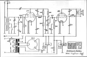 Bild 6. Die Schaltung des Einkreisers weist keine Besonderheiten auf. Hier ist die Version abgebildet, die sich in der Sammlung von Karl-Heinz Kunisch befindet. Das Gerät des Autors hat einen elektrodynamischen Lautsprecher, dessen Magnetwicklung direkt vom Netzteil gespeist wird, sowie als Gleichrichter eine AZ1. (Bild: Karl-Heinz Kunisch)